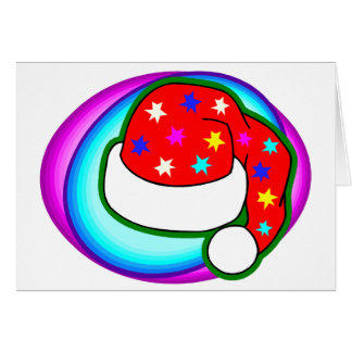 Bright Santa Hat With Stars Card