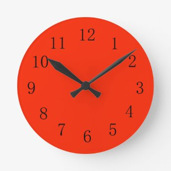 Bright Scarlet Red Kitchen Wall Clock by Red_Clocks at Zazzle