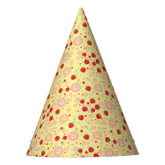 Bright Scattered Strawberry Swirl Pattern Party Hat