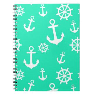 Bright Sea Green Anchors Pattern Spiral Notebook