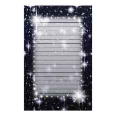 Bright Shining Stars In Space Lined Stationery at Zazzle