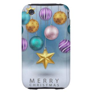 Bright shiny colorfu festive Christmas tree balls iPhone 3 Tough Cover