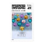 Bright shiny colorfu festive Christmas tree balls Postage
