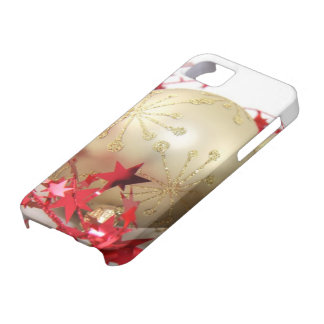 Bright Shiny Gold Christmas Ornament and Red Stars iPhone SE/5/5s Case