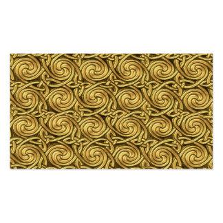 Bright Shiny Golden Celtic Spiral Knots Pattern Business Card Template