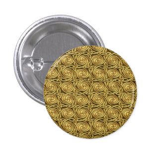 Bright Shiny Golden Celtic Spiral Knots Pattern Pin