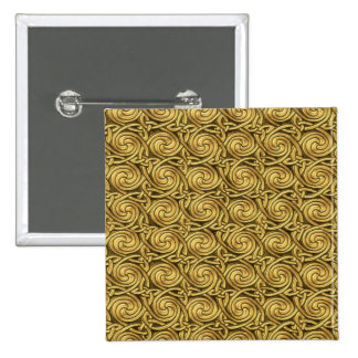 Bright Shiny Golden Celtic Spiral Knots Pattern Pinback Button