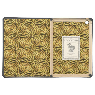 Bright Shiny Golden Celtic Spiral Knots Pattern iPad Air Covers