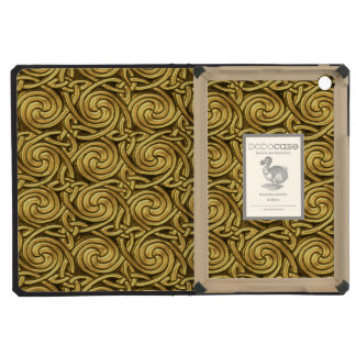 Bright Shiny Golden Celtic Spiral Knots Pattern iPad Mini Cases