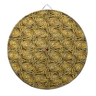 Bright Shiny Golden Celtic Spiral Knots Pattern Dartboard With Darts