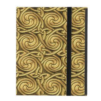Bright Shiny Golden Celtic Spiral Knots Pattern iPad Case