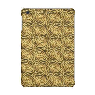 Bright Shiny Golden Celtic Spiral Knots Pattern iPad Mini Retina Covers