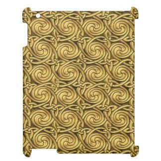 Bright Shiny Golden Celtic Spiral Knots Pattern iPad Cases