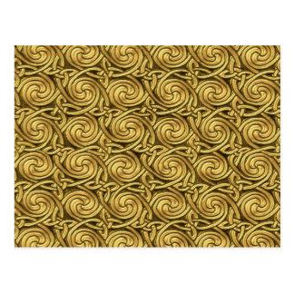 Bright Shiny Golden Celtic Spiral Knots Pattern Postcard