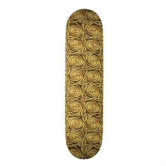 Bright Shiny Golden Celtic Spiral Knots Pattern Custom Skate Board