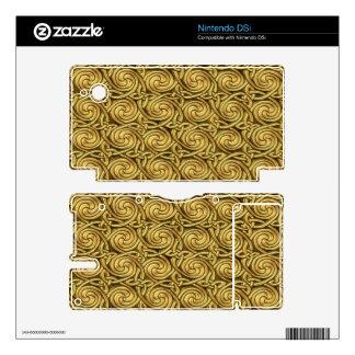 Bright Shiny Golden Celtic Spiral Knots Pattern Skins For The DSi