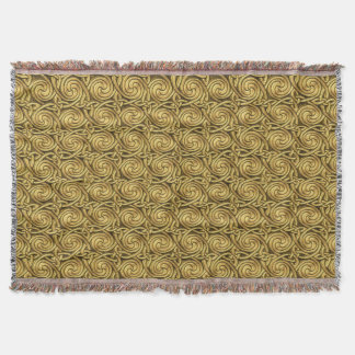 Bright Shiny Golden Celtic Spiral Knots Pattern Throw