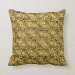 Bright Shiny Golden Celtic Spiral Knots Pattern Throw Pillow