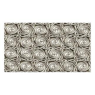 Bright Shiny Silver Celtic Spiral Knots Pattern Business Cards
