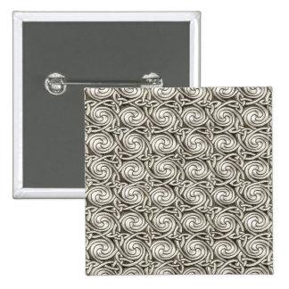 Bright Shiny Silver Celtic Spiral Knots Pattern Pinback Button