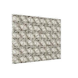 Bright Shiny Silver Celtic Spiral Knots Pattern Canvas Print