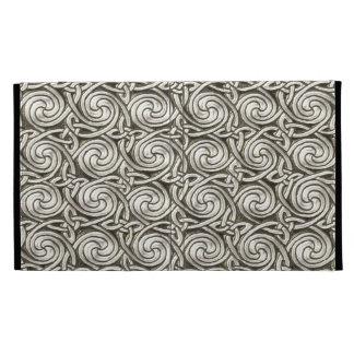 Bright Shiny Silver Celtic Spiral Knots Pattern iPad Folio Covers