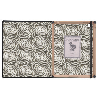 Bright Shiny Silver Celtic Spiral Knots Pattern Covers For iPad