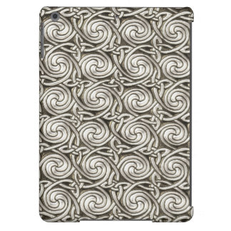 Bright Shiny Silver Celtic Spiral Knots Pattern iPad Air Cases