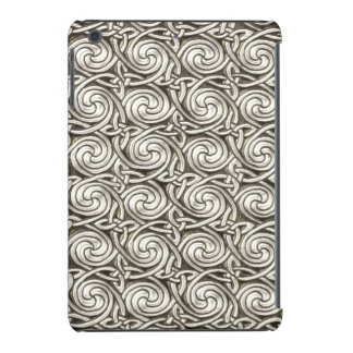 Bright Shiny Silver Celtic Spiral Knots Pattern iPad Mini Covers