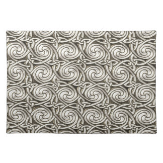 Bright Shiny Silver Celtic Spiral Knots Pattern Cloth Placemat
