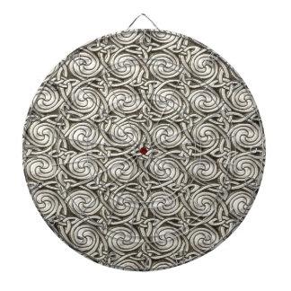 Bright Shiny Silver Celtic Spiral Knots Pattern Dartboards