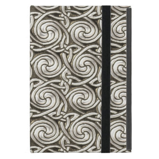 Bright Shiny Silver Celtic Spiral Knots Pattern Covers For iPad Mini