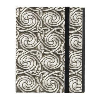 Bright Shiny Silver Celtic Spiral Knots Pattern iPad Folio Case