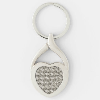 Bright Shiny Silver Celtic Spiral Knots Pattern Keychain