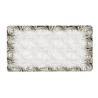 Bright Shiny Silver Celtic Spiral Knots Pattern Label