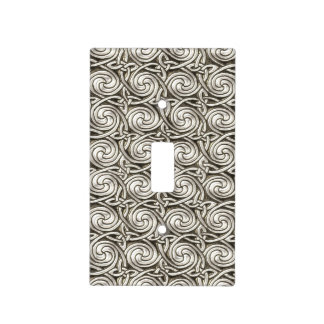 Bright Shiny Silver Celtic Spiral Knots Pattern Light Switch Cover