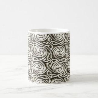 Bright Shiny Silver Celtic Spiral Knots Pattern Classic White Coffee Mug