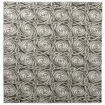 Bright Shiny Silver Celtic Spiral Knots Pattern Printed Napkins