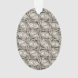 Bright Shiny Silver Celtic Spiral Knots Pattern Ornament