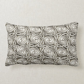 Bright Shiny Silver Celtic Spiral Knots Pattern Throw Pillows