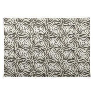 Bright Shiny Silver Celtic Spiral Knots Pattern Place Mats