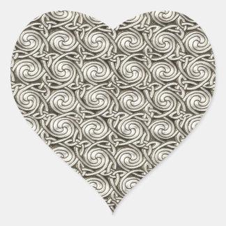 Bright Shiny Silver Celtic Spiral Knots Pattern Heart Sticker