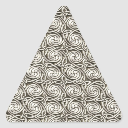 Bright Shiny Silver Celtic Spiral Knots Pattern Triangle Stickers