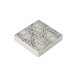 Bright Shiny Silver Celtic Spiral Knots Pattern Stone Magnet