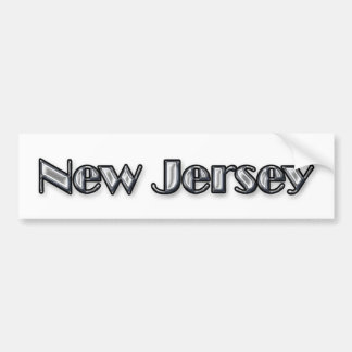Bright Silver New Jersey Text Logo Bumper Sticker