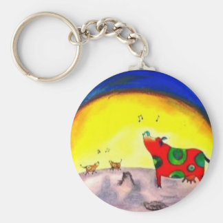Bright singing moon cow art by LeahG children's Keychain