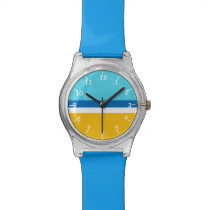 Bright Sky Blue, Blue, White, & Goldenrod Watch