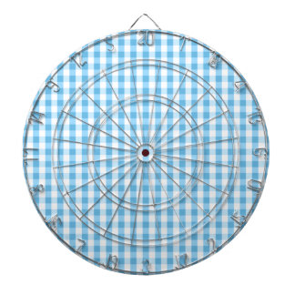 Bright Sky Blue & White Gingham Pattern Dart Boards