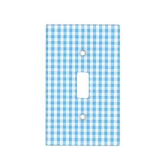 Bright Sky Blue & White Gingham Pattern Light Switch Cover