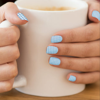 Bright Sky Blue & White Gingham Pattern Minx® Nail Art